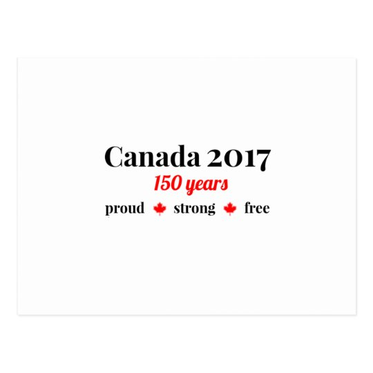 Canada 150 in 2017 Proud and Free Postcard