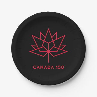 Canada 150 Official Logo - Black and Red 7 Inch Paper Plate