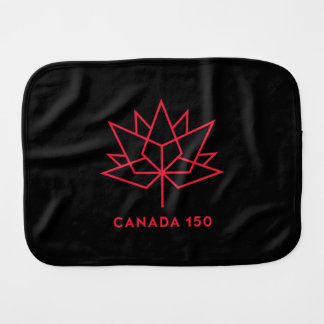 Canada 150 Official Logo - Black and Red Burp Cloths