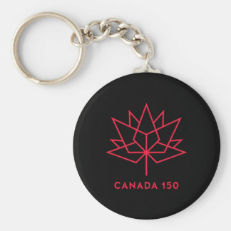 Canada 150 Official Logo - Black and Red Key Ring