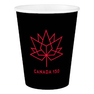 Canada 150 Official Logo - Black and Red Paper Cup