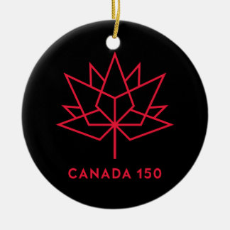 Canada 150 Official Logo - Black and Red Round Ceramic Decoration