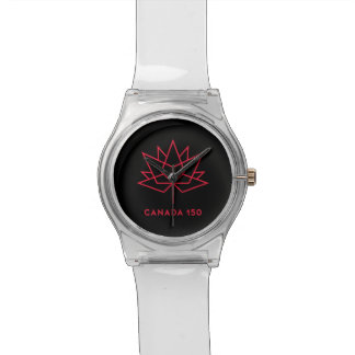 Canada 150 Official Logo - Black and Red Wristwatches