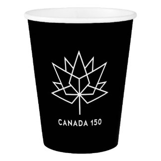 Canada 150 Official Logo - Black and White Paper Cup