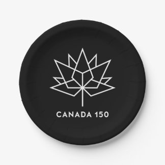 Canada 150 Official Logo - Black and White Paper Plate