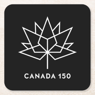 Canada 150 Official Logo - Black and White Square Paper Coaster