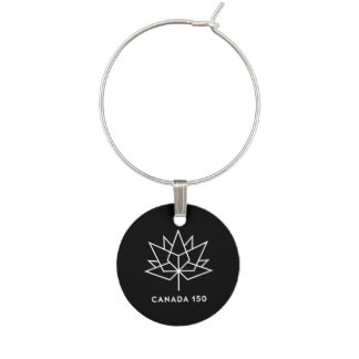 Canada 150 Official Logo - Black and White Wine Charms