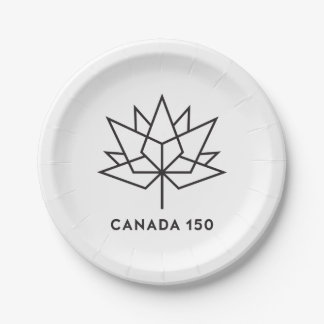 Canada 150 Official Logo - Black Outline 7 Inch Paper Plate