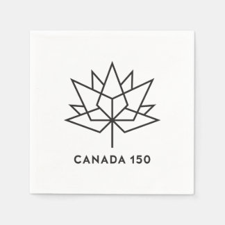 Canada 150 Official Logo - Black Outline Disposable Serviettes
