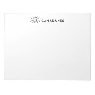Canada 150 Official Logo Horizontal Black Outline Notepad