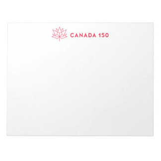 Canada 150 Official Logo - Horizontal Red Outline Notepads