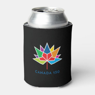 Canada 150 Official Logo - Multicolor and Black Can Cooler