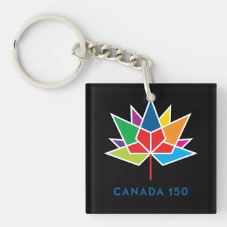 Canada 150 Official Logo - Multicolor and Black Key Ring