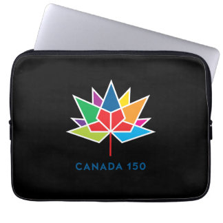 Canada 150 Official Logo - Multicolor and Black Laptop Sleeve
