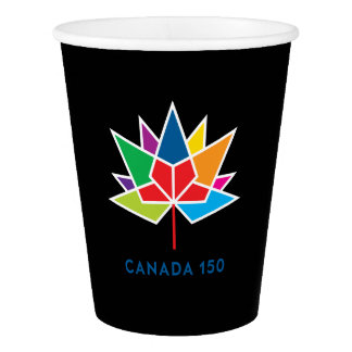 Canada 150 Official Logo - Multicolor and Black Paper Cup