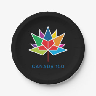 Canada 150 Official Logo - Multicolor and Black Paper Plate