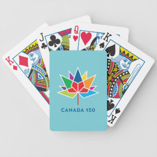 Canada 150 Official Logo - Multicolor and Blue Bicycle Playing Cards