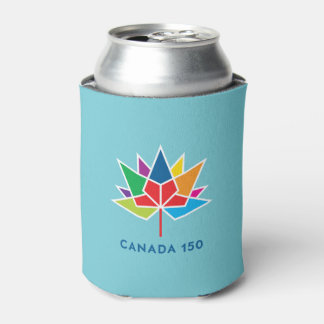 Canada 150 Official Logo - Multicolor and Blue Can Cooler