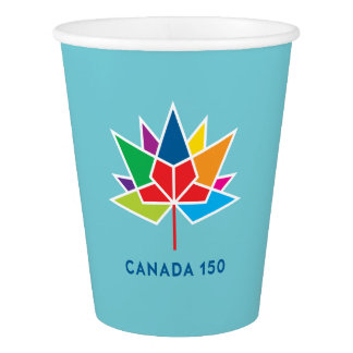 Canada 150 Official Logo - Multicolor and Blue Paper Cup