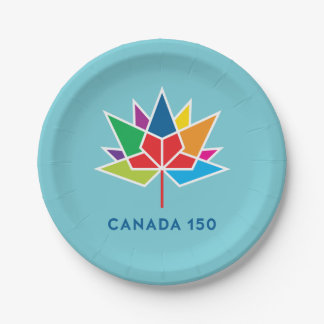 Canada 150 Official Logo - Multicolor and Blue Paper Plate