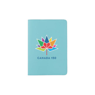 Canada 150 Official Logo - Multicolor and Blue Passport Holder