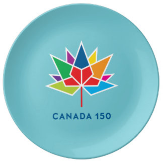 Canada 150 Official Logo - Multicolor and Blue Plate