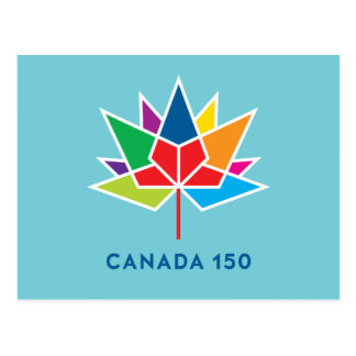 Canada 150 Official Logo - Multicolor and Blue Postcard