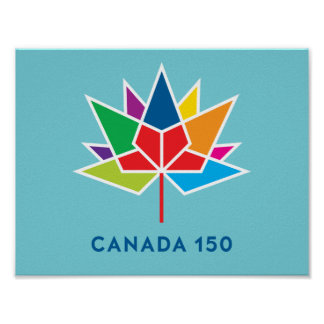 Canada 150 Official Logo - Multicolor and Blue Poster