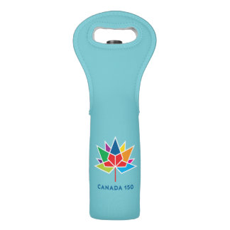 Canada 150 Official Logo - Multicolor and Blue Wine Bag