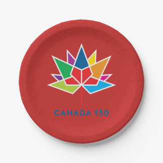 Canada 150 Official Logo - Multicolor and Red 7 Inch Paper Plate