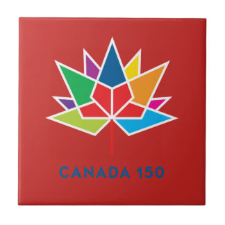 Canada 150 Official Logo - Multicolor and Red Ceramic Tile