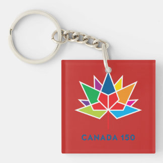 Canada 150 Official Logo - Multicolor and Red Key Ring
