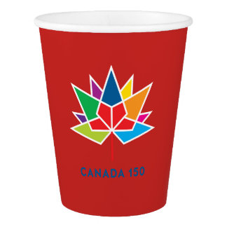 Canada 150 Official Logo - Multicolor and Red Paper Cup
