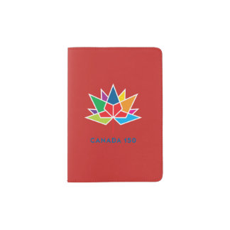 Canada 150 Official Logo - Multicolor and Red Passport Holder