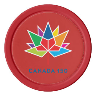 Canada 150 Official Logo - Multicolor and Red Poker Chips
