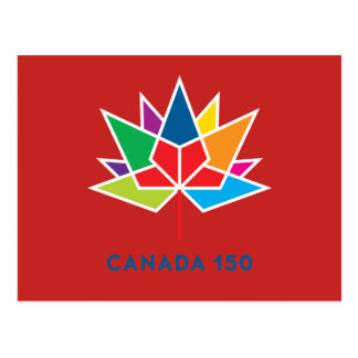 Canada 150 Official Logo - Multicolor and Red Postcard