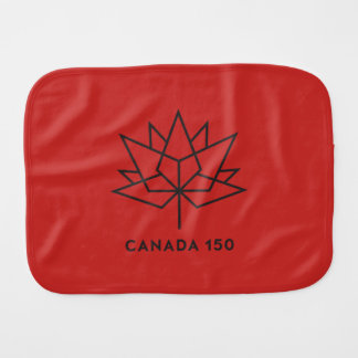Canada 150 Official Logo - Red and Black Burp Cloth