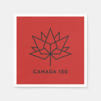 Canada 150 Official Logo - Red and Black Disposable Napkin