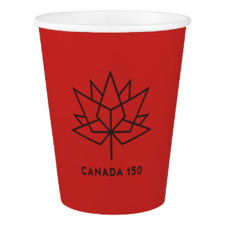 Canada 150 Official Logo - Red and Black Paper Cup