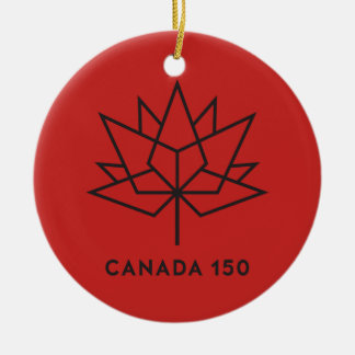 Canada 150 Official Logo - Red and Black Round Ceramic Decoration