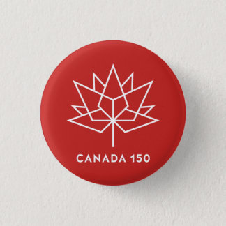 Canada 150 Official Logo - Red and White 3 Cm Round Badge