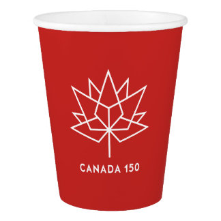 Canada 150 Official Logo - Red and White Paper Cup