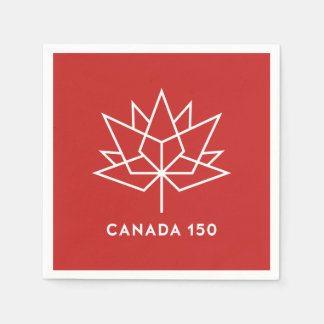 Canada 150 Official Logo - Red and White Paper Napkins