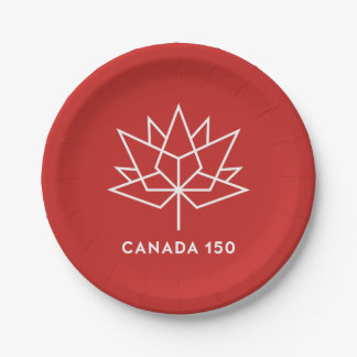 Canada 150 Official Logo - Red and White Paper Plate