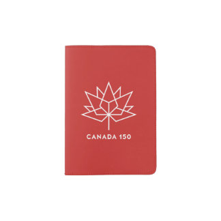 Canada 150 Official Logo - Red and White Passport Holder
