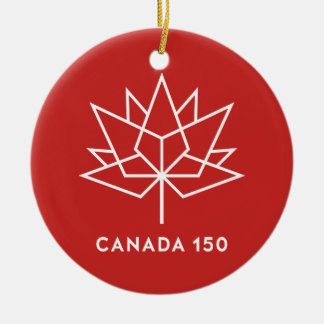 Canada 150 Official Logo - Red and White Round Ceramic Decoration