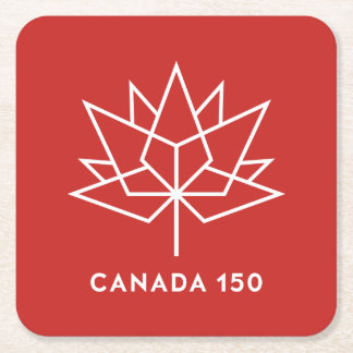 Canada 150 Official Logo - Red and White Square Paper Coaster