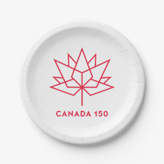 Canada 150 Official Logo - Red Outline 7 Inch Paper Plate