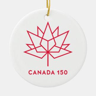 Canada 150 Official Logo - Red Outline Round Ceramic Decoration