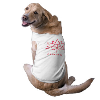 Canada 150 Official Logo - Red Outline Sleeveless Dog Shirt